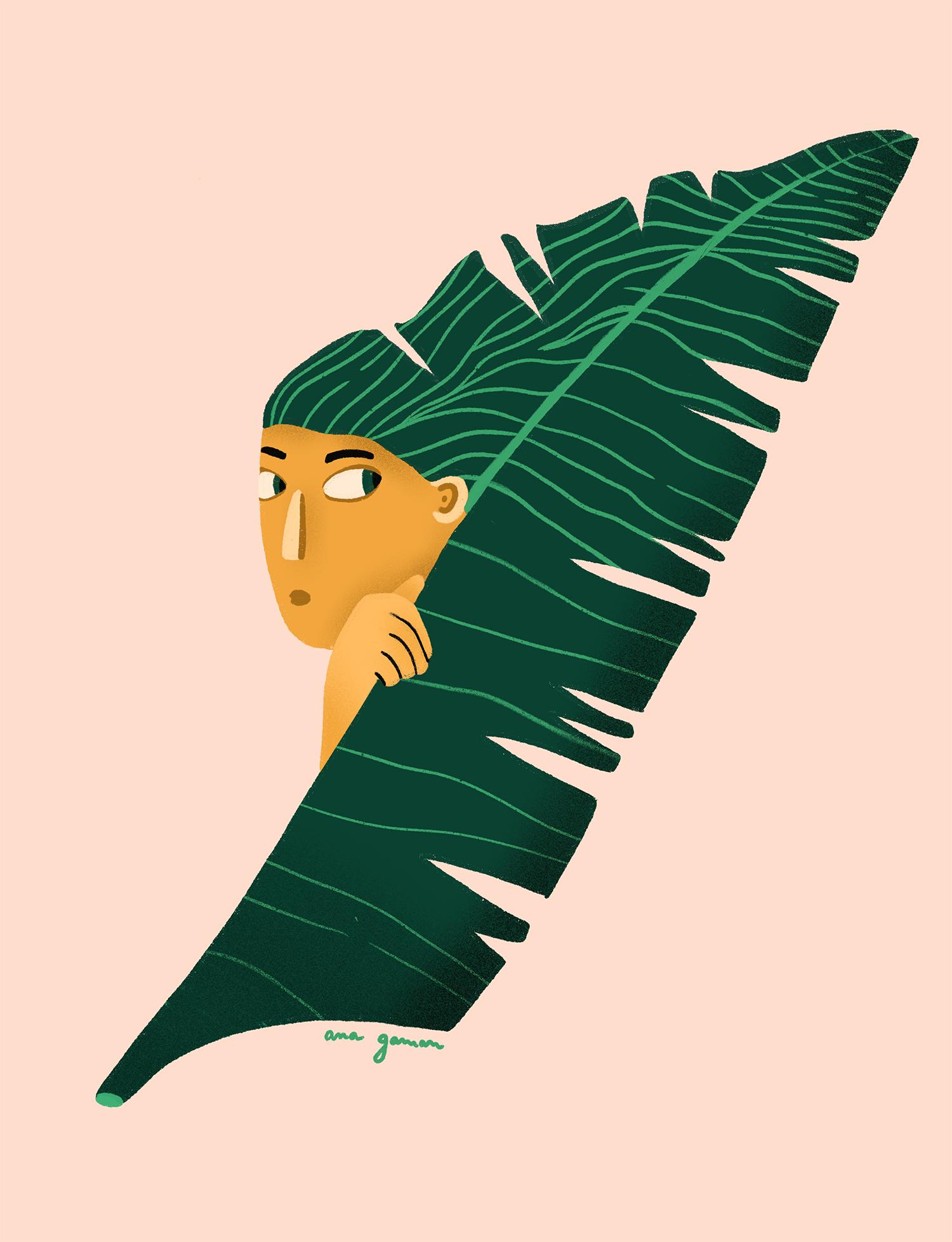 Ana Gaman illustration girl under leaf
