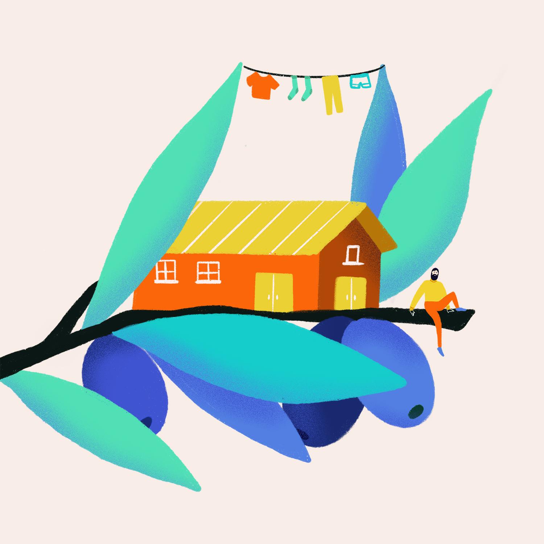 Ana Gaman Tiny House illustration Olive Barn